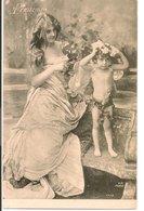 L60A096 -  Printemps - Jeune Femme Et Angelot  - VP N°9038 - Women