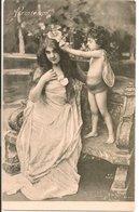 L60A097 -  Printemps - Jeune Femme Et Angelot  - VP N°9044 - Women