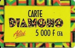 CARTE-PREPAYEE-SENEGAL-ALIZE-5000F CFA-DIAMONO-Epaisse-V°N° Série Au Centre En Bas-Pt N° Lasers-TBE - Sénégal