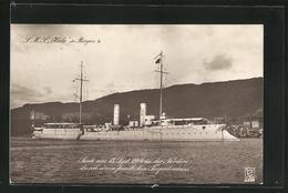 AK Bergen, Kriegsschiff S. M. S. Hela Auf Reede - Warships