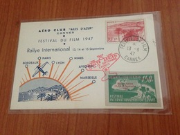 CANNES  FESTIVAL DU FILM 1947 - Rallye International  (port à Ma Charge ) - Marcophilie (Lettres)