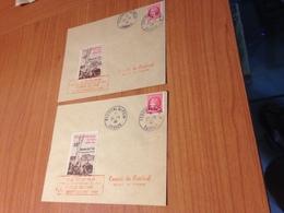 CANNES FESTIVAL INTERNATIONAL DU FILM 1946- 2 Lettres Avec Timbre Et Vignette (port à Ma Charge ) - Covers