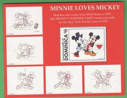 Disney Minnie Loves Mickey   DOMINICA Sealed With A Kiss Series 6 $ SHEET MNH - Disney