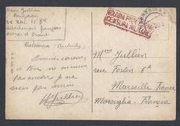Guerre 14-18 CP NABRESINA (Autriche) Soldat Armée D' Orient (Danube) Vers Marseille Avec Censure - Marcophilie (Lettres)