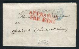 """Griffe """" Ministère De L 'Intérieur """" Sur Lettre Avec Texte Pour Chalon/ Saône En 1829 - Réf AT 33 - Postmark Collection (Covers)"""