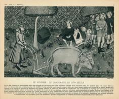 Photo, Métiers, Techniques Et Civilisation : Se Nourrir, Le Labourage Au XIV° Siècle, Araire, Boeufs, Faucheurs, Joug... - Vieux Papiers