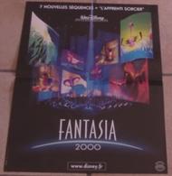 AFFICHE CINEMA ORIGINALE FILM FANTASIA 2000 WALT DISNEY Pictures + L'APPRENTI SORCIER 1999 TBE DESSIN ANIME - Affiches & Posters