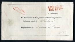 """Griffe """" Ministère De La Justice """" Sur Lettre Avec Texte En 1832 Pour Chalon / Saône - Réf AT 48 - Marcophilie (Lettres)"""