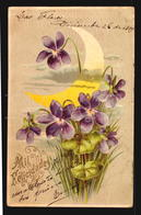 New Year Celebration Embossed Moon Lirium Flower Célébration Nouvel An En Relief Moon Lirium Fleur Postcard Cpa (w5-389) - Año Nuevo