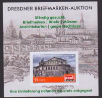 Dresden Semperoper Oper Musik Block Mit Wunschbriefmarke ** Privatpost PM, Frauenkirche,  Katholische Hofkirche, Elbe - Eglises Et Cathédrales