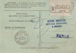 Mezzana. 1944. Annullo Guller MEZZANA (POTENZA),  Su Avviso Di Ricevimento R,  Servizio Notificazione Atti Giudiziari - 1900-44 Victor Emmanuel III