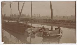 ABAA Photo Originale WWI Artillerie D'Afrique Canal De L'Est Près Verdun à Localiser Péniche Bombardée Par Les Allemands - War, Military
