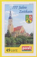 Zeithain Sachsen **, Postmodern Privatpost Wunschbriefmarke 001-07-2010, Kirche,  777 Jahre Wappen - Privatpost