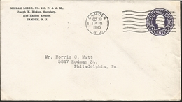 J) 1945 UNITED STATES, MIZPAH LODGE N°245 F&AM, POSTAL STATIONARY, CIRCULATED COVER, FROM NEW JERSEY TO PHILADELPHIA - Vereinigte Staaten