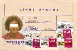 PALERMO  /  TESSERA  DI ABBONAMENTO MENSILE - Azienda Municipalizzata Autotrasporti  _ Anno 1989 - Europa
