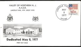 J) 1977 UNITED STATES, VALLERY OF NOTHERN NJ AASR LINCOLN PARK, NEW JERSEY, MASONIC GRAND LODGE SYMBOL, FDC - Vereinigte Staaten