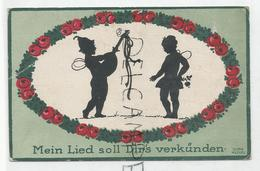 """Couple D'elfes Musiciens:"""" Mein Lied Soll Dir's Verkünden"""". Signé Dora Heckel - Silhouetkaarten"""