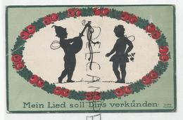 "Couple D'elfes Musiciens:"" Mein Lied Soll Dir's Verkünden"". Signé Dora Heckel - Silhouettes"