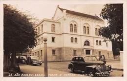 """M08398 """" SO CARLOS-BRASIL-FORUM E CAMARA MUNICIPAL """" AUTO '50- CARTOLINA  ORIG.  SPED. 1955 - São Paulo"""
