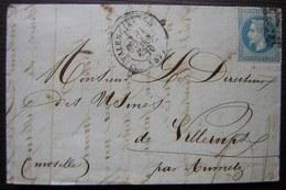 Saint Saulve Les Valenciennes 1870 L. Serbat Pour Villerupt Par Aumetz (Moselle) Beau Cachet Aumetz Au Revers - Postmark Collection (Covers)