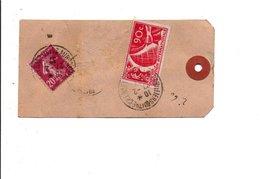 AFFRANCHISSEMENT COMPOSE SUR ETIQUETTE DE COLIS DE AUBERVILLIERS 1937 - Marcophilie (Lettres)