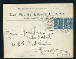 Enveloppe Commerciale De Millau Pour Nîmes En 1927, Affranchissement Semeuse En Paire - Réf AT 66 - Postmark Collection (Covers)