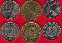 Uzbekistan Set Of 3 Coins: 1 - 10 Som 2000-2001 UNC - Uzbekistan