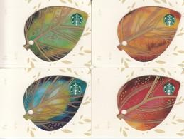 Set 4 X Thailand Starbucks Card   Leaves - 2015-6112 - Gift Cards