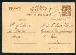 Entier Postal Type Iris De Bouloc Pour Méru En 1941 - Réf AT 75 - Postal Stamped Stationery