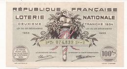 Ticket 100 Fr. Loterie Nationale 1934 2ème Tranche - Billetes De Lotería