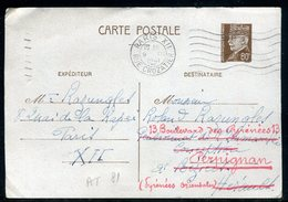 Entier Postal De Paris Pour Béziers Et Redirigé Vers Perpignan En 1941 - Réf AT 81 - Enteros Postales