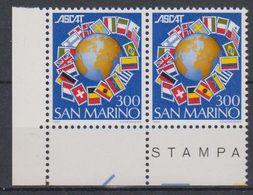 San Marino 1982 Ascat (Flags) 1v (pair, Corner) ** Mnh (43948) - Ongebruikt