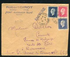 Affranchissement Tricolore Au Type Marianne De Dulac Sur Enveloppe De Pont Audemer Pour Roumare En 1945 - Réf AT 84 - Marcophilie (Lettres)