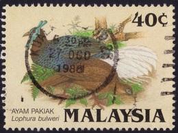 MALAYSIA 1986 Birds Lophura Bulweri 40c Sc#322 - USED @PM100 - Malaysia (1964-...)