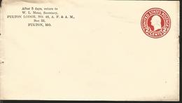 J) 1974 UNITED STATES, LINCOLN, POSTAL STATIONARY, FULTON LODGE N°48 AF&AM, FDC - Vereinigte Staaten