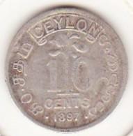 Ceylon 10 Cents 1897. Victoria. Argent. KM# 94 - Sri Lanka