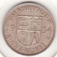 Ile Maurice, 1 Rupee 1934 , George V, En Argent - Mauricio