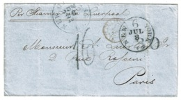 Ref 1311 - 1857 USA Cover - New Orleans To Paris Via New York & Liverpool - Some Great Marks - Postal History