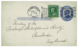 Ref 1311 - 1911 USA Uprated Postal Stationery Card Cambridge Observatory To Cambridge UK - Postal Stationery