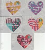 Set 5 X Thailand Starbucks Card Valentine Heart-2018 - 6162 - Gift Cards