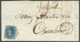 N°15A - Médaillon 20 Centimes Bleu, Obl. P.2 Sur Lettre D'ALOST Le 14-8-1863 Vers Charleroi. - 14507 - 1863-1864 Medaillen (13/16)