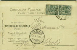 LUINO ( VARESE ) FISCHER & RECHSTEINER - TRASPORTI INTERNAZIONALI - CART.PUBBLICITARIA AUTOGRAFA - PERFIN - 1912 (3341) - Varese