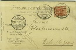 LUINO ( VARESE ) FISCHER & RECHSTEINER - TRASPORTI INTERNAZIONALI - CART. PUBBLICITARIA AUTOGRAFA - PERFIN - 1911 (3342) - Varese