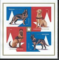USA. Scott #  ? MNH Pane Of 4 From Booklet. Military Dogs. 2019 - Etats-Unis