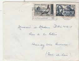 Yvert 1052 Driant + 1091 Pigeon  Cachet Flamme PLOMODIERN Finistère 1956 à Aunay Sous Auneau Eure Et Loir - France
