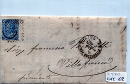 STORIA POSTALE-REGNO D'ITALIA-VITTORIO EMANUELE II -da 20 Centesimi-AZZURRO II TIPO-1866-VILLAFRANCA - Posta