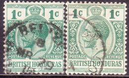 British Honduras 1913-17 SG #101,a 1c Both Shades Used Wmk Mult.Crown CA - Honduras Britannico (...-1970)