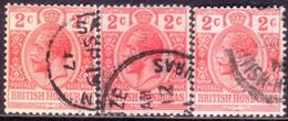 British Honduras 1913-17 SG #102,a,b 2c Three Shades Used Wmk Mult.Crown CA - Honduras Britannico (...-1970)