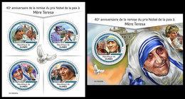 GUINEA 2019 - Mother Teresa Nobel Prize. M/S + S/S. Official Issue - Mother Teresa