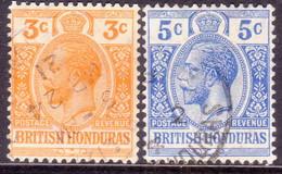 British Honduras 1913-17 SG #103,04 3c,5c Used Wmk Mult.Crown CA - British Honduras (...-1970)